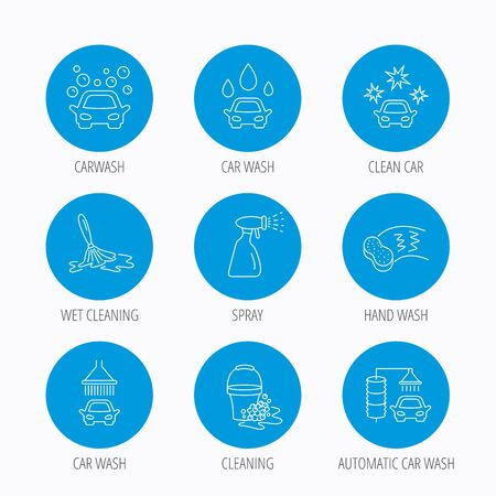 foam bubbles: Car wash icons. Automatic cleaning station linear signs. Bucket with foam bubbles, sponge and spray flat line icons. Blue circle buttons set. Linear icons.