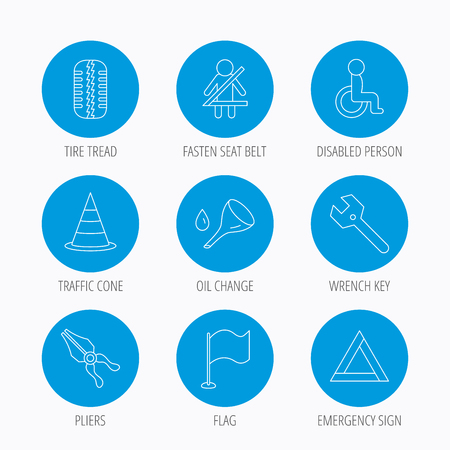 tread: Tire tread, traffic cone and wrench key icons. Emergency triangle, flag and pliers linear signs. Disabled person icons. Blue circle buttons set. Linear icons.
