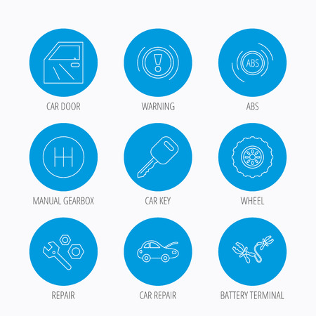 gearbox: Car key, repair tools and manual gearbox icons. Wheel, warning ABS and battery terminal linear signs. Blue circle buttons set. Linear icons. Illustration