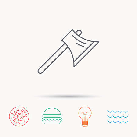 steel worker: Axe icon. Worker equipment sign. Steel weapon symbol. Global connect network, ocean wave and burger icons. Lightbulb lamp symbol.