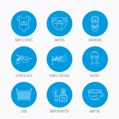 beach bucket: Diapers, newborn baby and clothes icons. Kids songs, beach bucket and bed linear signs. Video monitoring, wc flat line icons. Blue circle buttons set. Linear icons.