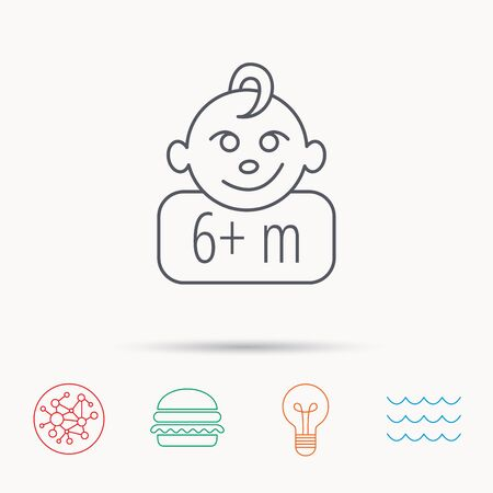 six months: Baby face icon. Newborn child sign. Use of six months and plus symbol. Global connect network, ocean wave and burger icons. Lightbulb lamp symbol. Illustration