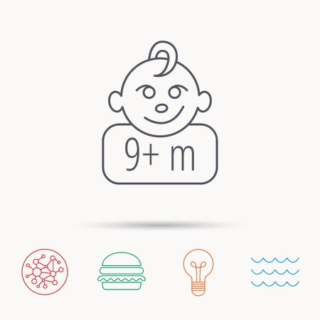 nine months: Baby face icon. Newborn child sign. Use of nine months and plus symbol. Global connect network, ocean wave and burger icons. Lightbulb lamp symbol.