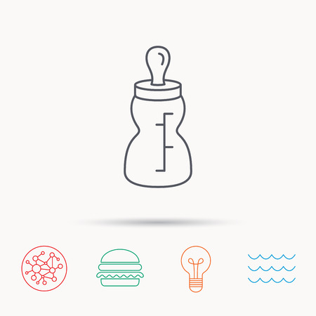 nursing bottle: Baby feeding bottle icon. Drink glass with pacifier sign. Child food symbol. Global connect network, ocean wave and burger icons. Lightbulb lamp symbol. Illustration