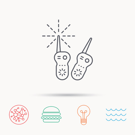 nanny: Baby monitor icon. Nanny for newborn sign. Radio set symbol. Global connect network, ocean wave and burger icons. Lightbulb lamp symbol.