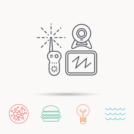 nanny: Baby monitor icon. Video nanny for newborn sign. Radio set with camera and tv symbol. Global connect network, ocean wave and burger icons. Lightbulb lamp symbol.