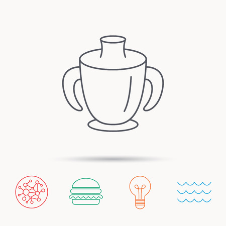 spout: Toddler spout cup icon. Baby mug sign. Flip top feeding bottle symbol. Global connect network, ocean wave and burger icons. Lightbulb lamp symbol.