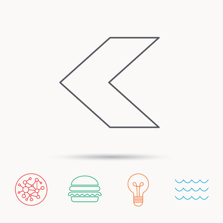 global direction: Back arrow icon. Previous sign. Left direction symbol. Global connect network, ocean wave and burger icons. Lightbulb lamp symbol.
