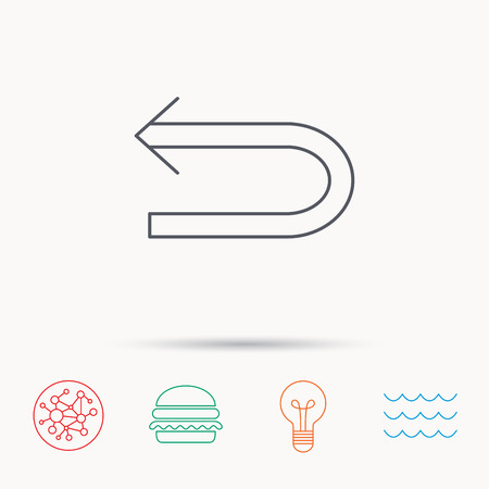 back arrow: Back arrow icon. Previous sign. Left direction symbol. Global connect network, ocean wave and burger icons. Lightbulb lamp symbol.