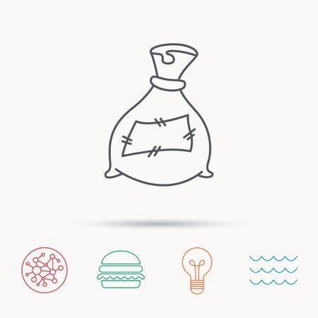 phosphate: Bag with fertilizer icon. Fertilization sack sign. Farming or agriculture symbol. Global connect network, ocean wave and burger icons. Lightbulb lamp symbol. Illustration