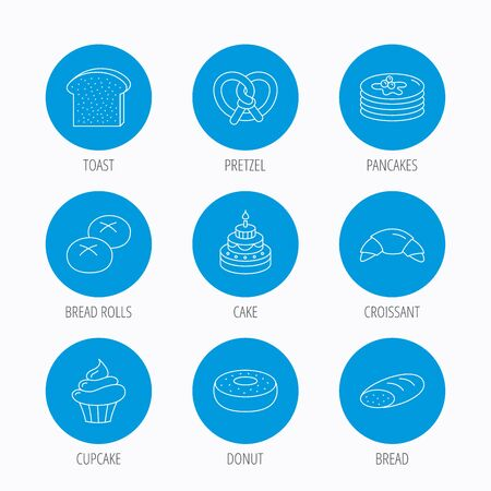 bread rolls: Croissant, pretzel and bread icons. Cupcake, cake and sweet donut linear signs. Pancakes, toast and bread rolls flat line icons. Blue circle buttons set. Linear icons.