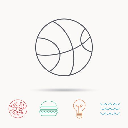 team game: Basketball equipment icon. Sport ball sign. Team game symbol. Global connect network, ocean wave and burger icons. Lightbulb lamp symbol. Illustration