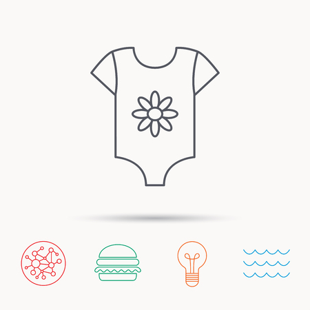 flower lamp: Newborn clothes icon. Baby shirt wear sign. Flower symbol. Global connect network, ocean wave and burger icons. Lightbulb lamp symbol. Illustration
