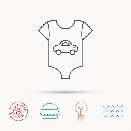 car clothes: Newborn clothes icon. Baby shirt wear sign. Car symbol. Global connect network, ocean wave and burger icons. Lightbulb lamp symbol.
