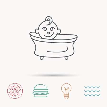 washing symbol: Baby in bath icon. Toddler bathing sign. Newborn washing symbol. Global connect network, ocean wave and burger icons. Lightbulb lamp symbol. Illustration