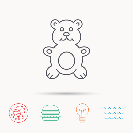 plush: Teddy-bear icon. Baby toy sign. Plush animal symbol. Global connect network, ocean wave and burger icons. Lightbulb lamp symbol.