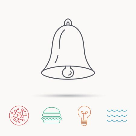 handbell: Bell icon. Sound sign. Alarm handbell symbol. Global connect network, ocean wave and burger icons. Lightbulb lamp symbol. Illustration