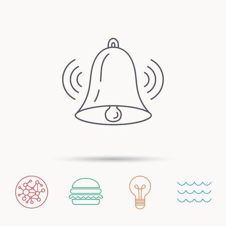 handbell: Ringing bell icon. Sound sign. Alarm handbell symbol. Global connect network, ocean wave and burger icons. Lightbulb lamp symbol.