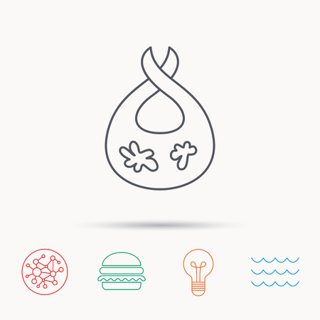 dirty clothes: Bib with dirty spots icon. Baby clothes sign. Feeding wear symbol. Global connect network, ocean wave and burger icons. Lightbulb lamp symbol.