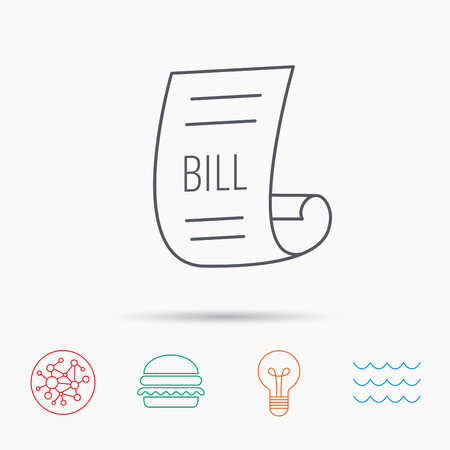 pay bill: Bill icon. Pay document sign. Business invoice or receipt symbol. Global connect network, ocean wave and burger icons. Lightbulb lamp symbol.