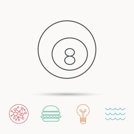 Billiard ball icon. Pool or snooker equipment sign. Cue sports symbol. Global connect network, ocean wave and burger icons. Lightbulb lamp symbol. Illustration
