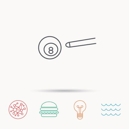 snooker cue: Billiard ball icon. Pool or snooker equipment sign. Cue sports symbol. Global connect network, ocean wave and burger icons. Lightbulb lamp symbol. Illustration