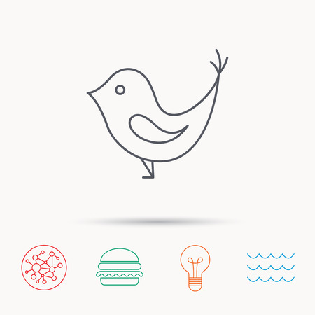 fowl: Bird with beak icon. Cute small fowl symbol. Social media concept sign. Global connect network, ocean wave and burger icons. Lightbulb lamp symbol.