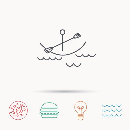 canotaje: Kayaking on waves icon. Boating or rafting sign. Canoeing extreme sport symbol. Global connect network, ocean wave and burger icons. Lightbulb lamp symbol. Vectores