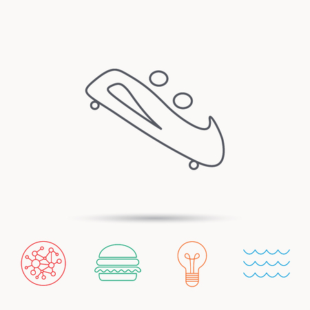 bobsled: Bobsleigh icon. Two-seater bobsled sign. Professional winter sport symbol. Global connect network, ocean wave and burger icons. Lightbulb lamp symbol. Illustration