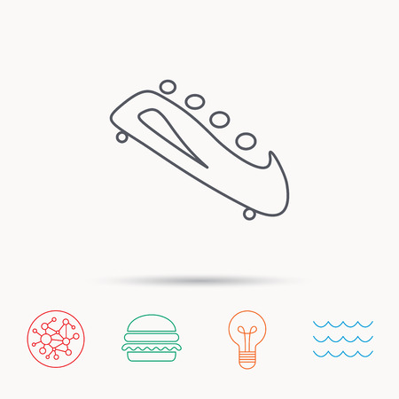 bobsleigh: Bobsleigh icon. Four-seated bobsled sign. Professional winter sport symbol. Global connect network, ocean wave and burger icons. Lightbulb lamp symbol.