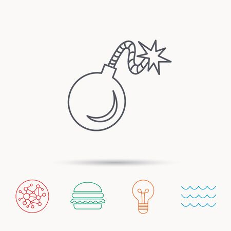 mine lamp: Retro bomb icon. Boom explode sign. Global connect network, ocean wave and burger icons. Lightbulb lamp symbol.