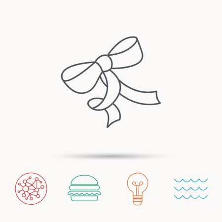 tied girl: Gift bow icon. Present decoration sign. Ribbon for packaging symbol. Global connect network, ocean wave and burger icons. Lightbulb lamp symbol.