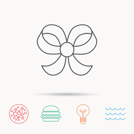bowknot: Bow icon. Gift bow-knot sign. Global connect network, ocean wave and burger icons. Lightbulb lamp symbol.