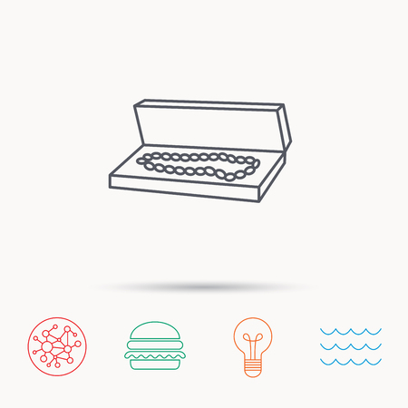 jewelry box: Jewelry box icon. Luxury precious sign. Global connect network, ocean wave and burger icons. Lightbulb lamp symbol.