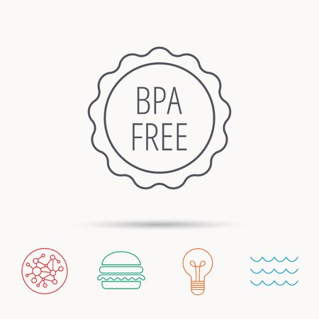 bpa: BPA free icon. Bisphenol plastic sign. Global connect network, ocean wave and burger icons. Lightbulb lamp symbol. Illustration