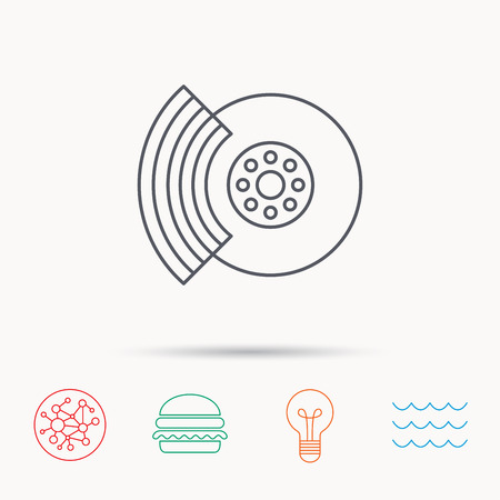 overhaul: Brakes icon. Auto disk repair sign. Global connect network, ocean wave and burger icons. Lightbulb lamp symbol.