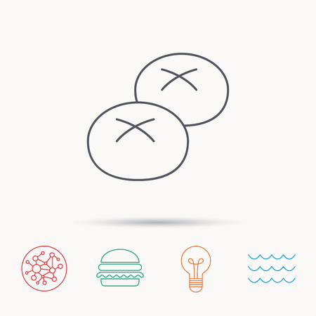 enriched: Bread rolls or buns icon. Natural food sign. Bakery symbol. Global connect network, ocean wave and burger icons. Lightbulb lamp symbol.