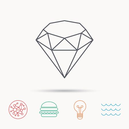 gemstone: Brilliant icon. Diamond gemstone sign. Global connect network, ocean wave and burger icons. Lightbulb lamp symbol. Illustration