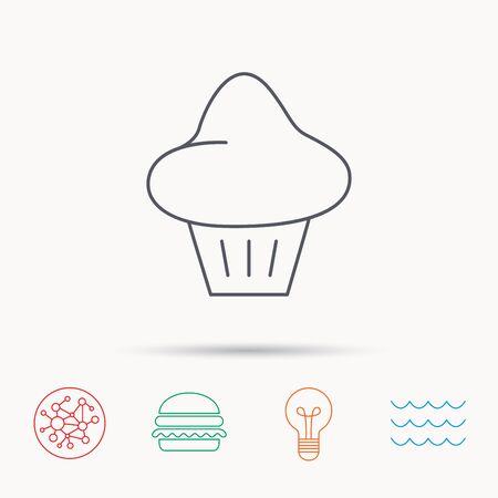 enriched: Brioche icon. Bread bun sign. Bakery symbol. Global connect network, ocean wave and burger icons. Lightbulb lamp symbol.