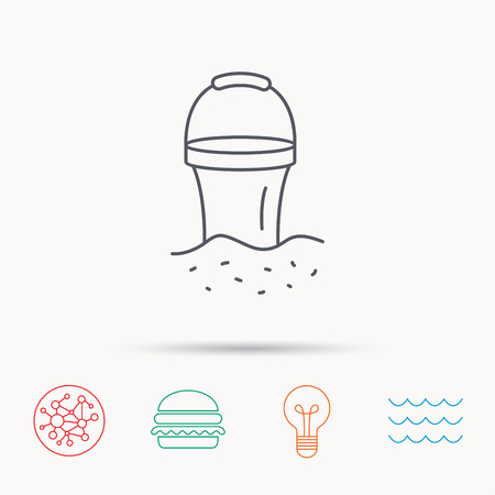 beach game: Bucket in sand icon. Trash bin sign. Child beach game symbol. Global connect network, ocean wave and burger icons. Lightbulb lamp symbol.