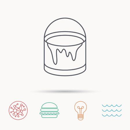 overhaul: Bucket of paint icon. Painting box sign. Global connect network, ocean wave and burger icons. Lightbulb lamp symbol.