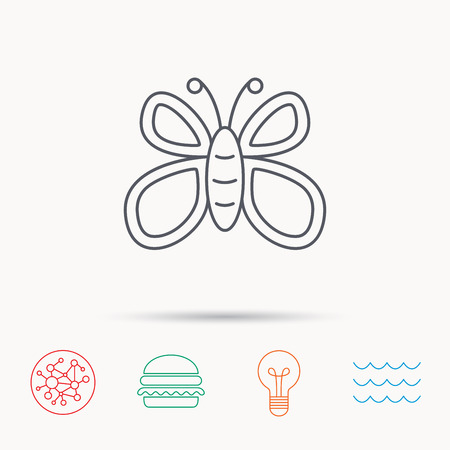 lepidoptera: Butterfly icon. Flying lepidoptera sign. Dreaming symbol. Global connect network, ocean wave and burger icons. Lightbulb lamp symbol.