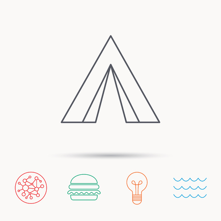 hike: Tourist tent icon. Camping travel hike sign. Global connect network, ocean wave and burger icons. Lightbulb lamp symbol. Illustration