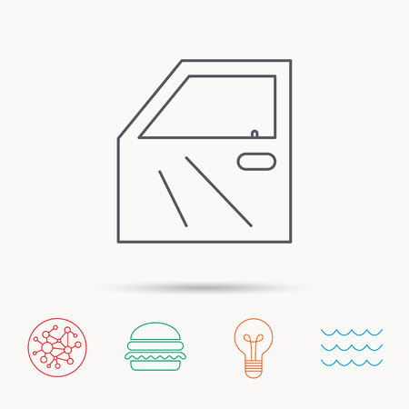 automobile door: Car door icon. Automobile lock sign. Global connect network, ocean wave and burger icons. Lightbulb lamp symbol.