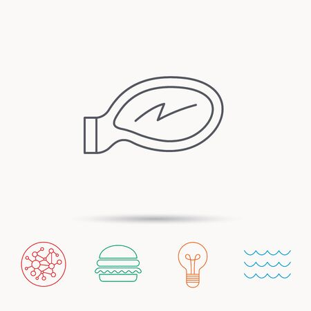 ocean view: Car mirror icon. Driveway side view sign. Global connect network, ocean wave and burger icons. Lightbulb lamp symbol. Illustration