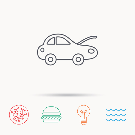 overhaul: Car repair icon. Mechanic service sign. Global connect network, ocean wave and burger icons. Lightbulb lamp symbol. Vettoriali