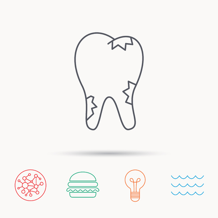 global health: Caries icon. Tooth health sign. Global connect network, ocean wave and burger icons. Lightbulb lamp symbol.