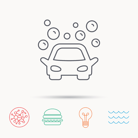 operated: Car wash icon. Cleaning station sign. Foam bubbles symbol. Global connect network, ocean wave and burger icons. Lightbulb lamp symbol. Illustration