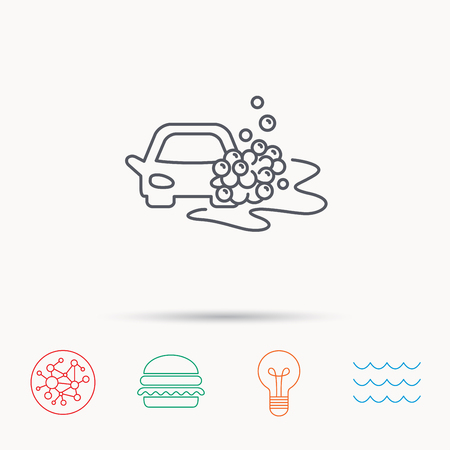 foam bubbles: Car wash icon. Cleaning station sign. Foam bubbles symbol. Global connect network, ocean wave and burger icons. Lightbulb lamp symbol. Illustration