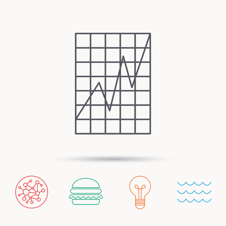 demand: Chart curve icon. Graph diagram sign. Demand growth symbol. Global connect network, ocean wave and burger icons. Lightbulb lamp symbol.
